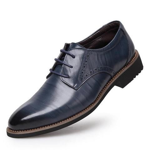 Men's High Quality Genuine Leather Lace-Up Oxford Dress Shoes - Black/Blue/Dark  Brown/Brown