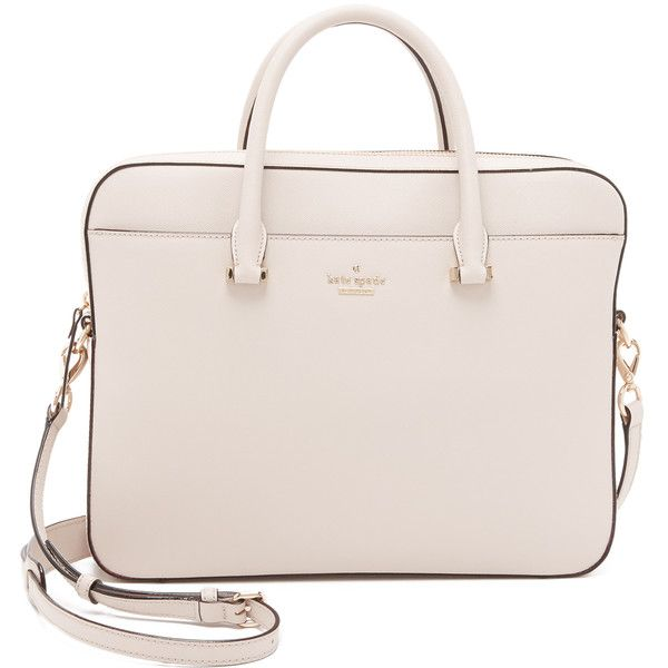 Kate Spade New York 13 Inch Saffiano Laptop Bag ($300) ❤ liked on Polyvore featuring bags, handbags, crisp linen, genuine leather handbags, kate spade, leather purse, genuine leather purse and zipper purse