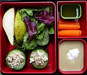 Stuffed Cucumber Slices, Mixed Green Salad with Pear Wedges, Cauliflower Soup, Mini Carrots, Sweet and Sour Dressing