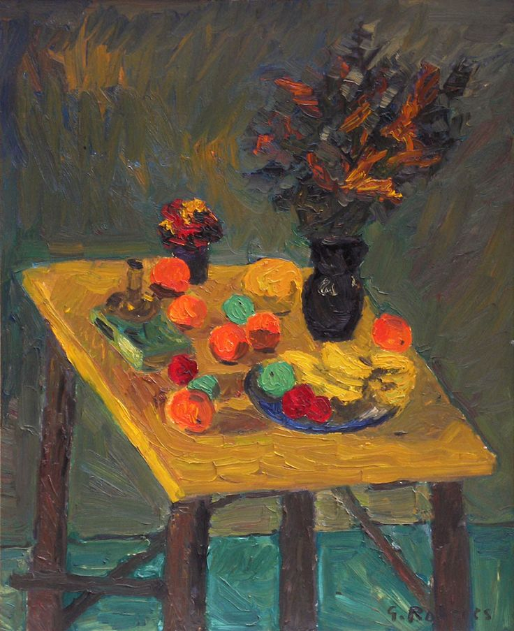 'Still Life with Fruit and Flowers', oil on canvas by William Goodridge Roberts at Mayberry Fine Art