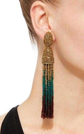Gold Teal And Brown Tassel Clip Earrings by OSCAR DE LA RENTA Now Available on Moda Operandi