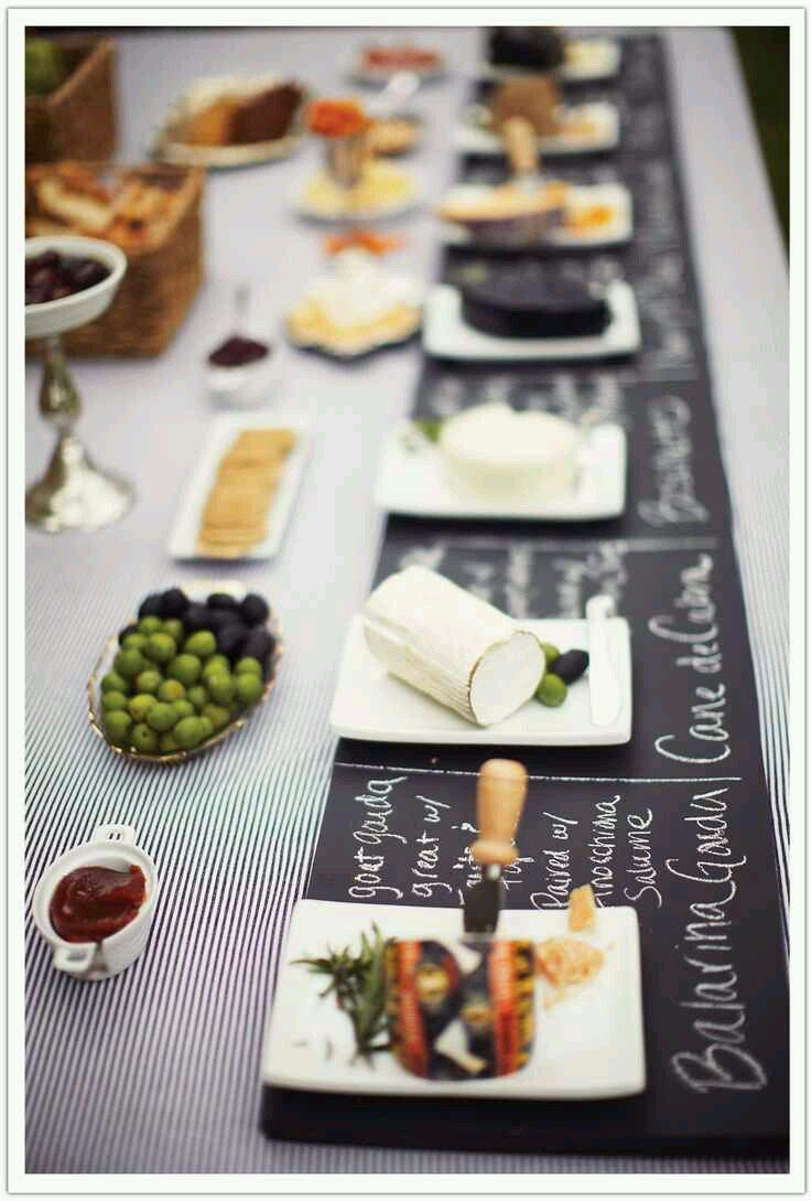 Cool chalkboard placemats. Nice for cheese identification!