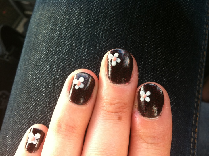 "China Glaze ""Lubu Heels"" with acrylic flower nail art."
