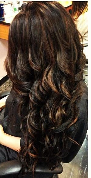 Love this darker color..... even with the highlights! liven up your dark hair with some subtle highlights