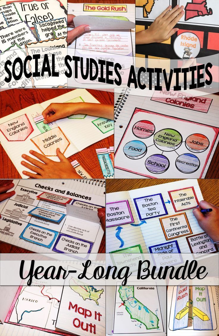Social Studies activities for Elementary and Middle School is fun and engaging with Social Studies Interactive Notebooks for the Year Bundle! 4th, 5th, 6th, 7th, and even 8th grade students love these hands-on foldables, projects, and lessons. Teaching Social Studies units about government, maps, and history is easy with these classroom-tested ideas.