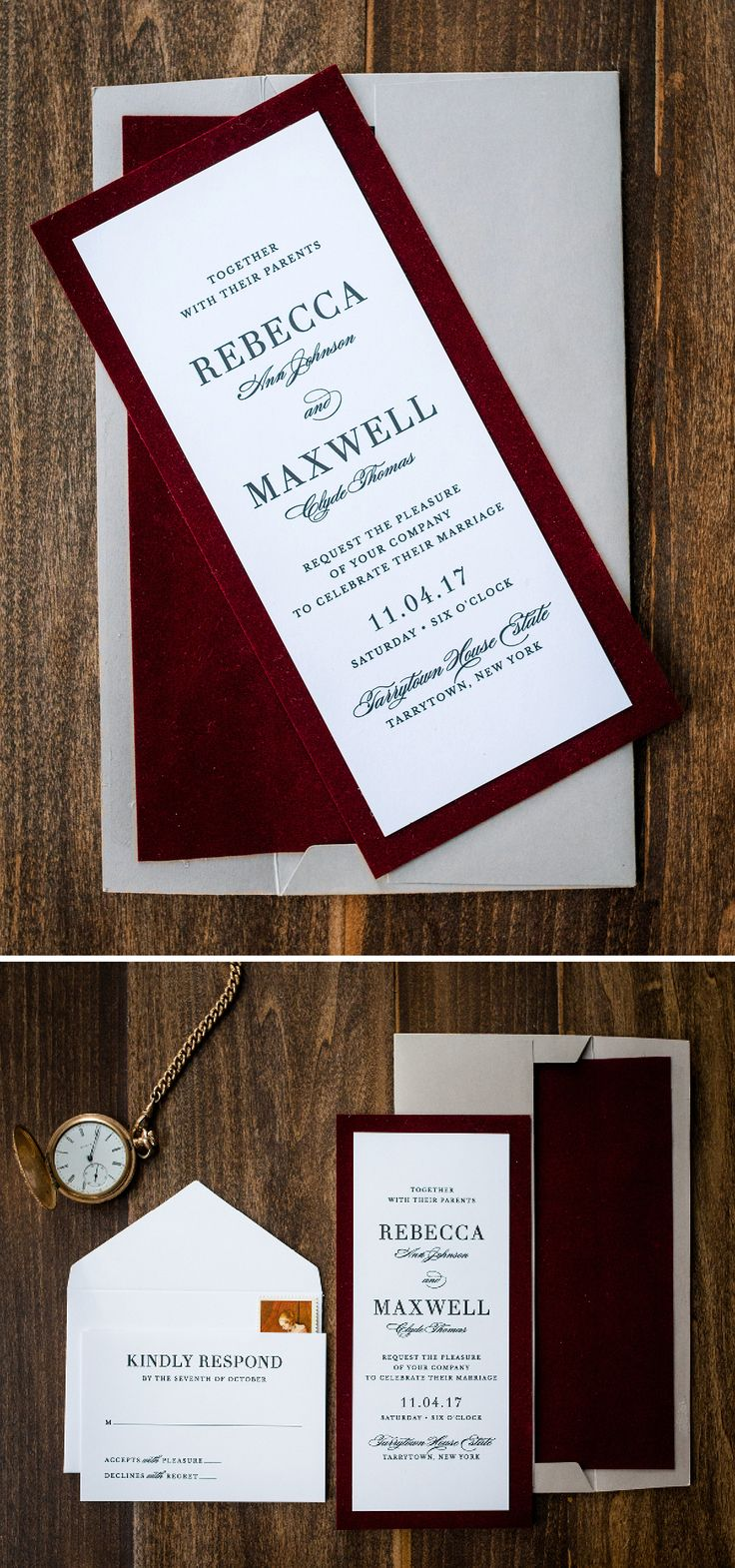 Unique Velvet Wedding Invitation by Penn & Paperie. Designed in a red wine color palette and skinny vertical layout.