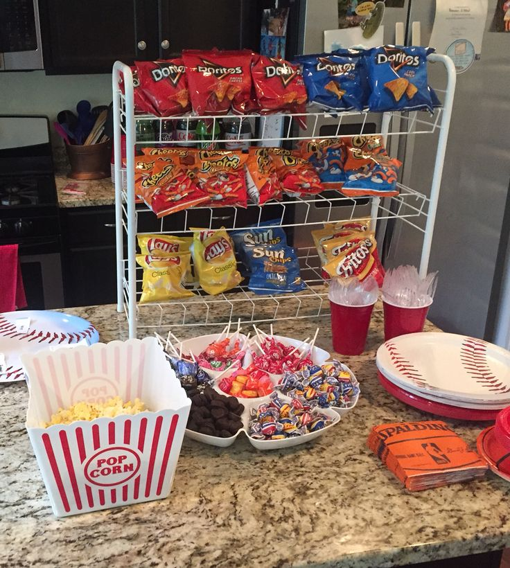 Baseball birthday party. Concession stand. Chip display using shoe rack.
