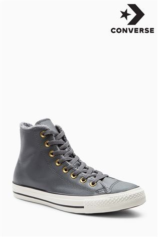 Buy Converse Grey Leather Hi Top from the Next UK online shop