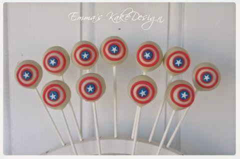 Emmas KakeDesign: Captain America Cakepops! DIY on the blog www.emmaskakedesign.blogspot.com