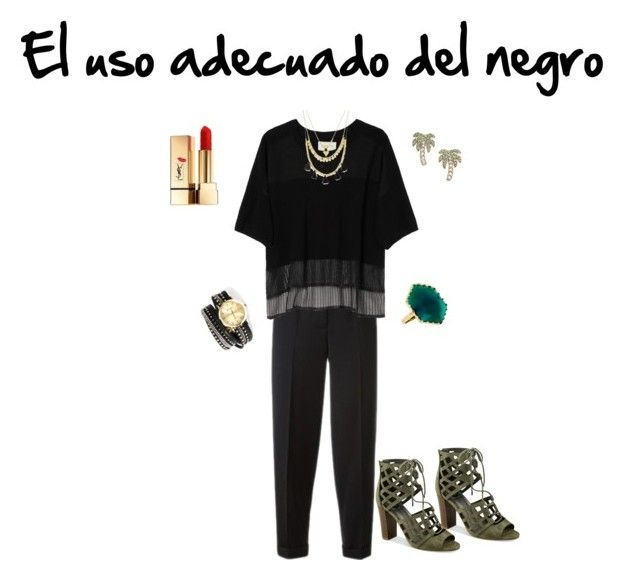 El uso adecuado del negro by michelle-bilodeau on Polyvore featuring moda, Public School, Alexander McQueen, G by Guess, Kate Spade, Lana, Forever 21 and Yves Saint Laurent