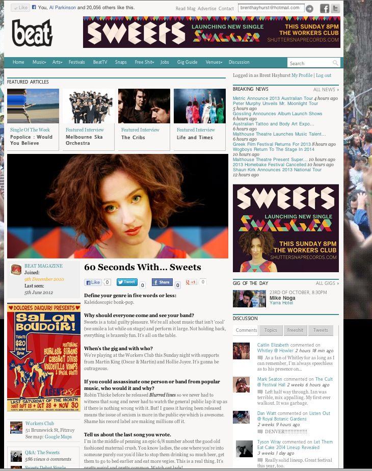 Beat Magazine Q&A: http://www.beat.com.au/music/60-seconds-sweets