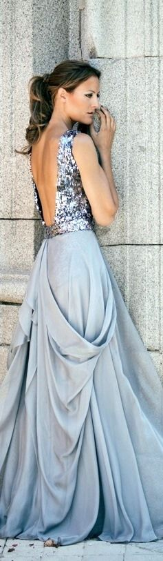Azul Claro, Light Blue Evening Gown