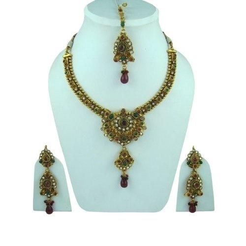 Designer Wedding Jewelry Sets- Red Green Stone Studded Kundan Polki Necklace: Jewelry: Amazon.com  $79.99
