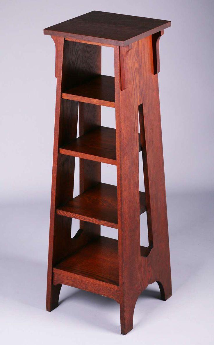 Brooks Furniture Co Tall, Cutout Magazine Stand. Unsigned. Original Finish.  44u2033
