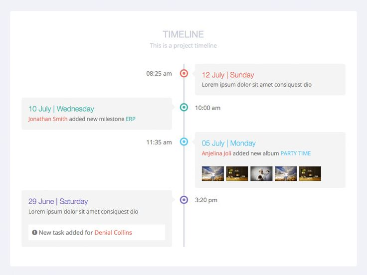 Timeline view from Flat Lab responsive admin dashboard and frontend Live Preview : http://themeforest.net/item/flatlab-flat-responsive-admin-template/5902687