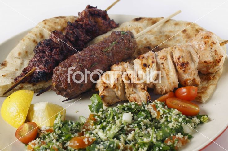 Arab style barbecue meal with tabouleh