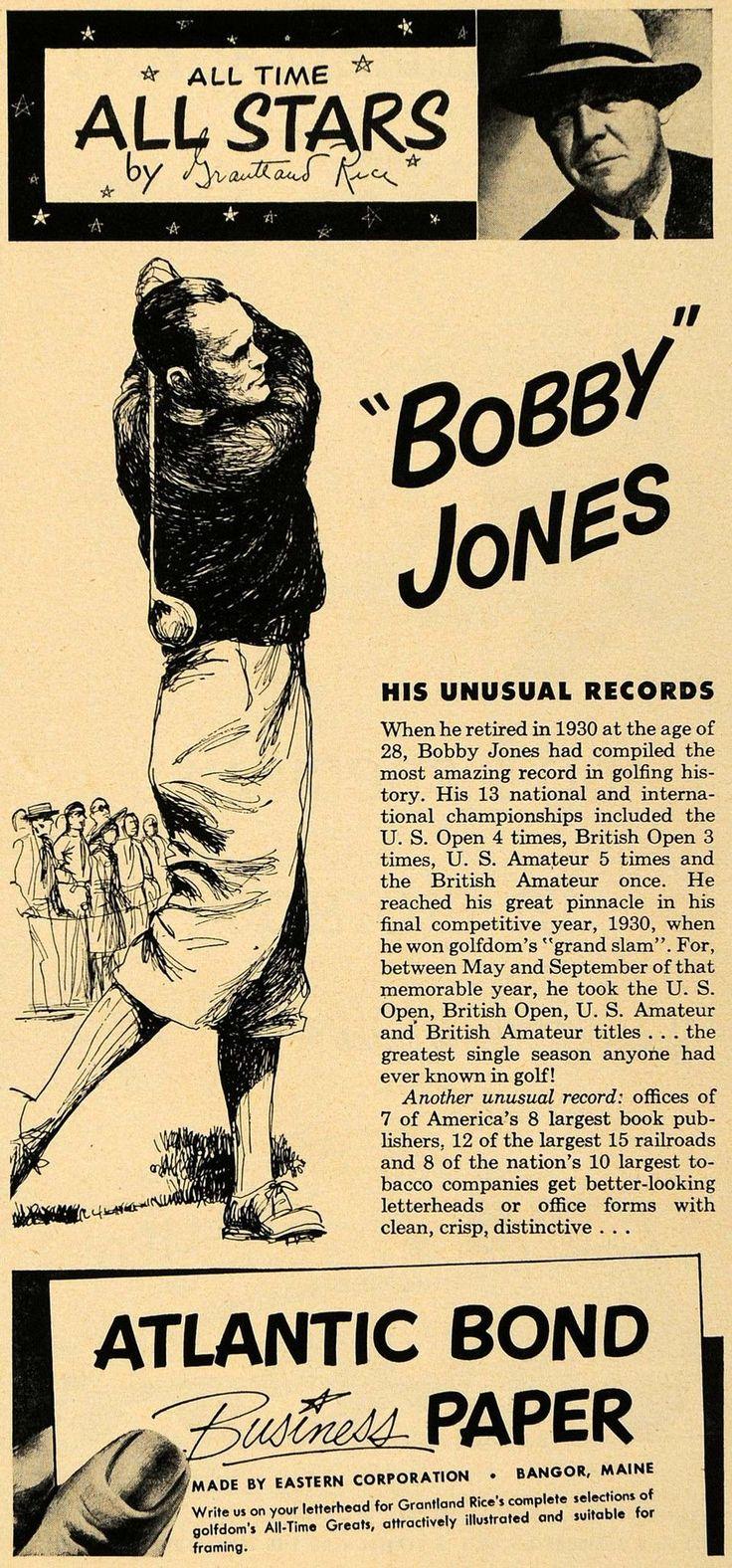 1952 Ad Eastern Atlantic Bond Paper Bobby Jones Golf - ORIGINAL ADVERTISING TM6