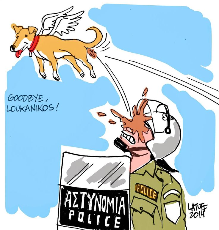 "Another sketch deticated on ""Loukanikos"" passing by Carlos Latuff."