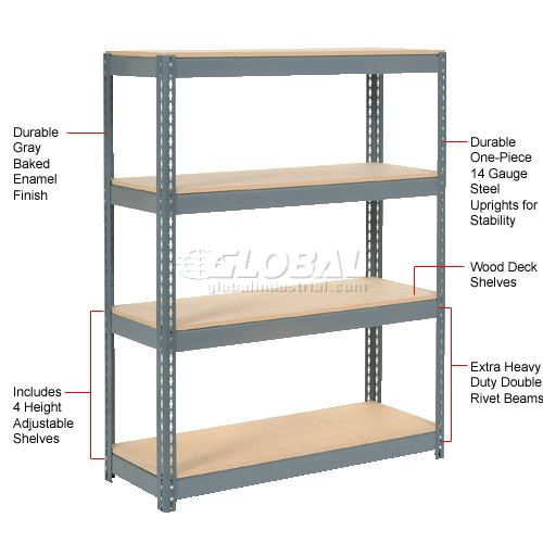 """Extra Heavy Duty Shelving 48""""W x 24""""D x 72""""H With 4 Shelves, Wood Deck"""