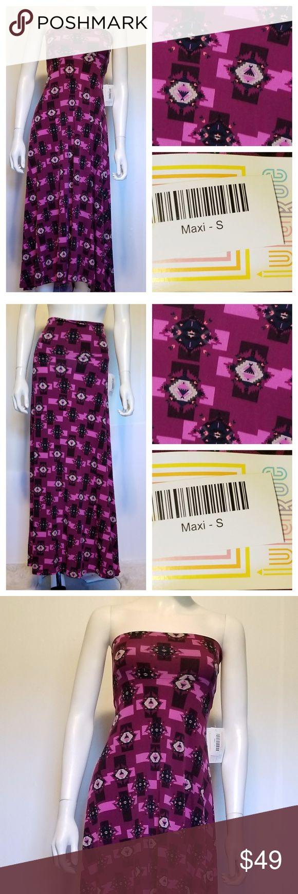 LULAROE MaxiPurple Aztec Pattern UNICORN  NWT Unicorn Purple Aztec Maxi Skirt in Small  Can be worn as a maxi skirt.......midi skirt and a strapless dress LuLaRoe Skirts Maxi