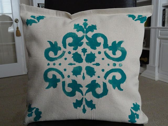 stenciled pillows for the back patioour home away drop cloth