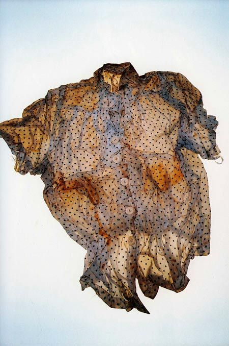 Miyako Ishiuchi photographs clothes and objects preserved from the Hiroshima.