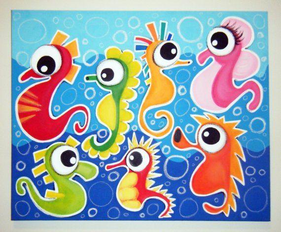 Desfile de caballos de mar 16 x 20 original pintura for Vivero para peces