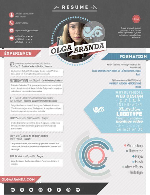 Mon Resume My Cv Mi Curriculum By Olga Aranda Via Behance Graphic Design Cv Resume Design Creative Cv