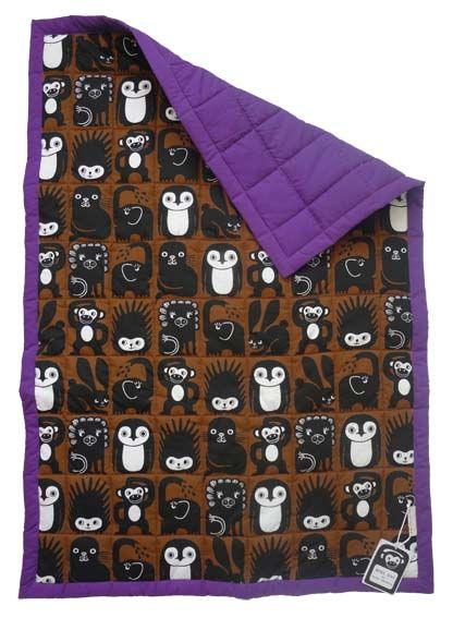 Mini Zoo quilted baby blanket in purple - A new Danish design brand at Tinga Tango Designshop. Interior Shop - Interior - Children - Children - Toys - Toys - Boutique - Design - Art - Webshop - Cheap Shipping - Games - Games