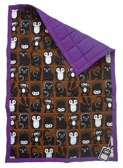 Mini Zoo quiltet babytæppe i lilla – Nyt dansk designmærke. Tinga Tango Designbutik