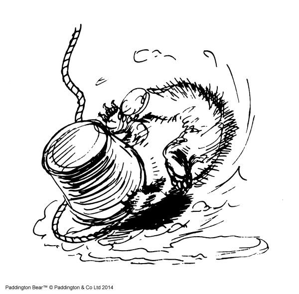 'He felt the rope begin to move again as the bucket got lighter, and then it shot past him again as he descended, to land with a bump in the middle of the sea of whitewash. Even then his troubles weren't over. As he tried to regain his balance on the slippery floor, he let go of the rope, and with a rushing noise the bucket shot downwards again and landed on top of his head, completely covering him.' From 'More About Paddington' by Michael Bond