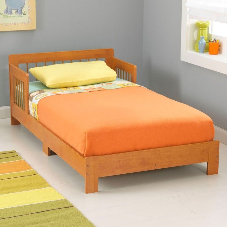 Amusing KidKraft Houston Toddler Bed Offers Sturdily Built of Engineered Wood and Bed Rails Prevent Roll-Outs in Gray Toddler Room. #ToddlerBed #Furniture #Netnoot