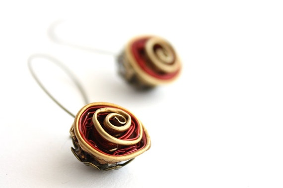 Reporposed red rose earrings made of Nespresso coffee capsules via Etsy