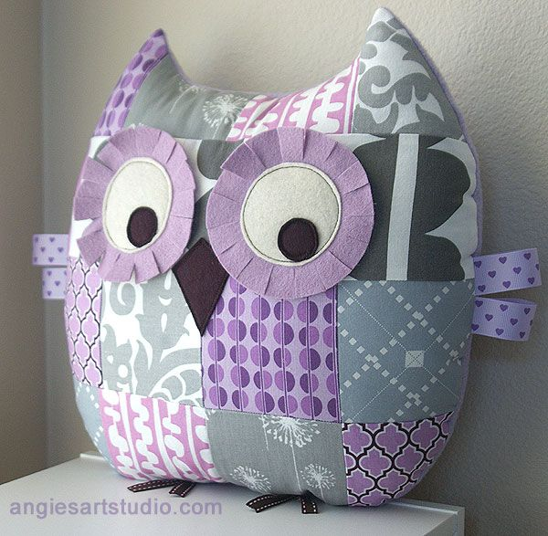 Patchwork Owl Pillow Lilac and Gray
