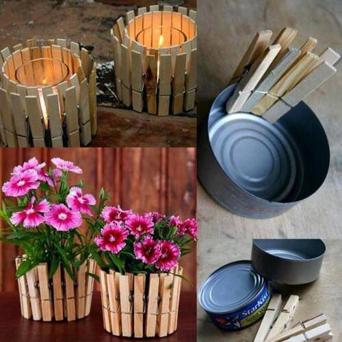 Empty and clean tuna cans, clothing pins, perfect as candle holders or miniature flower pots.