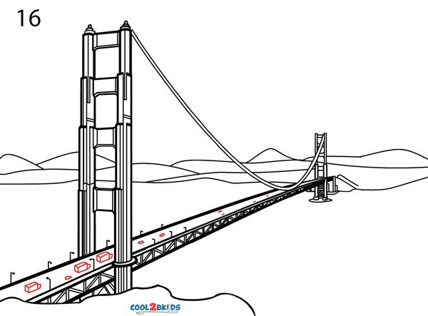 Golden Gate Bridge Drawing With Images Bridge Drawing Golden