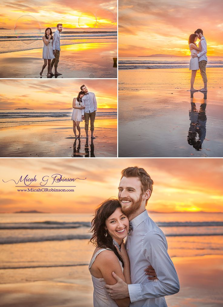 Engagement portraits; sunset at the beach in Cali. My work – Micah G Robinson
