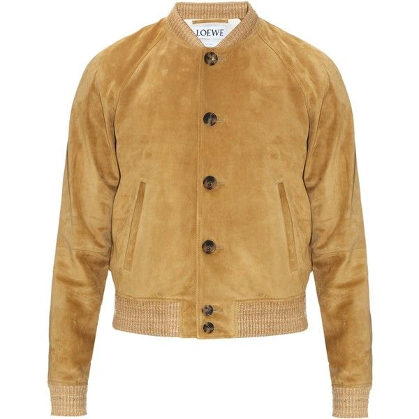 Loewe Suede bomber jacket ($1,800) ❤ liked on Polyvore featuring men's fashion, men's clothing, men's outerwear, men's jackets, mens suede jacket, mens suede leather jacket and mens suede bomber jacket