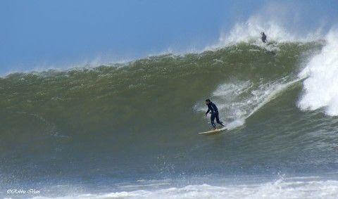 Dan Thornton on a big wave at Supertubes. Photo: Robbie Irlam