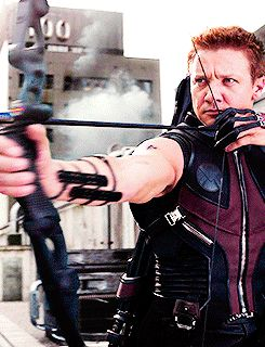 Hawkeye gif. The coolest part is that he's not even looking at his target!