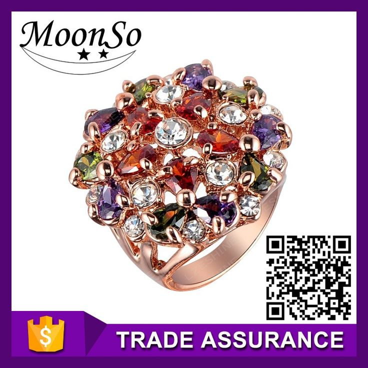 Wholesale high quality MOONSO artificial jewellery tanishq gold jewellery rings new design gold finger ring ladies gold KR618