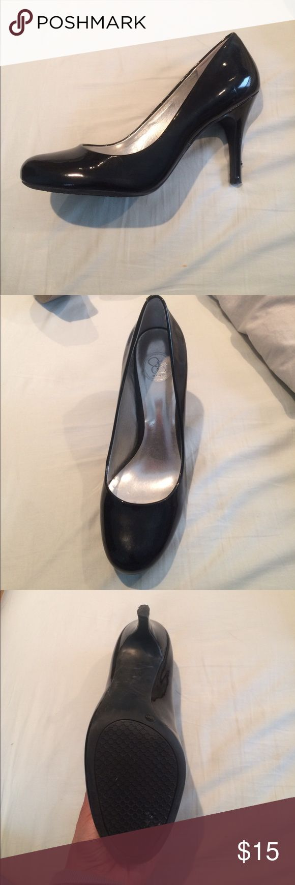 Jessica Simpson Black Pumps Patent Leather, rubber sole, round toe, scuff in left heel Jessica Simpson Shoes Heels
