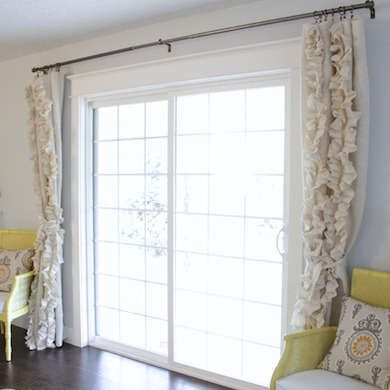Frame Large Sliding Glass Doors With Floor Length Drapes