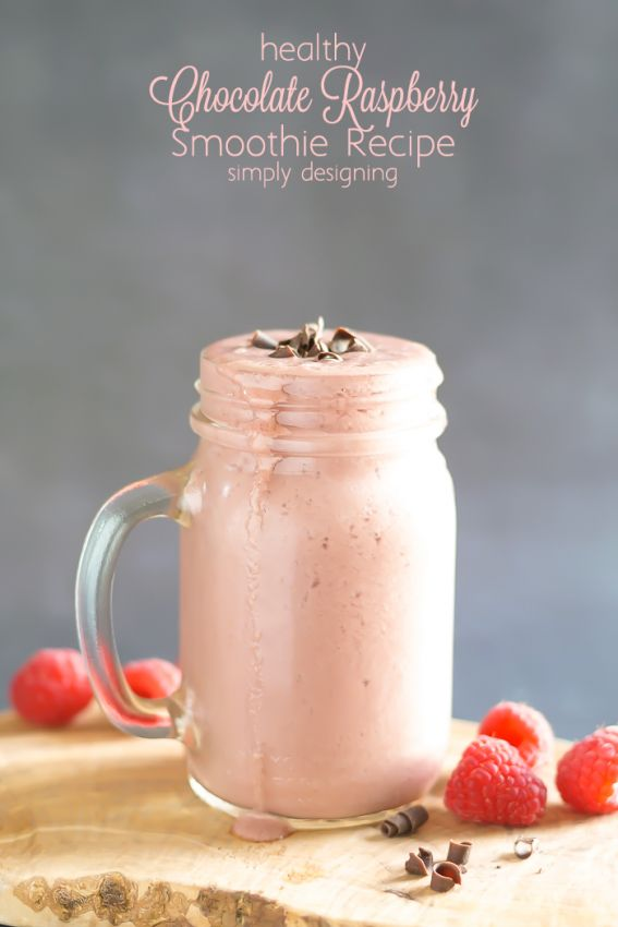Healthy Chocolate Raspberry Smoothie Recipe - this chocolate smoothie tastes like a treat but it is actually healthy | Vitamix Recipe from Simply Designing