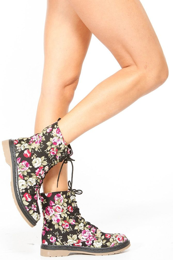 Bamboo Floral Combat Boots again, love the flowers