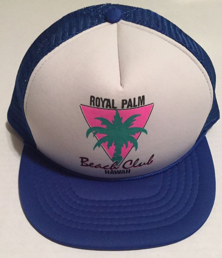 This Royal Palm beach club hat is a snapback. It has wear to the mesh, rusting to the button, missing material on the top button of the hat, creasing and piling. It may be different in color then it appears in the photos and comes from a pet friendly home. | eBay!