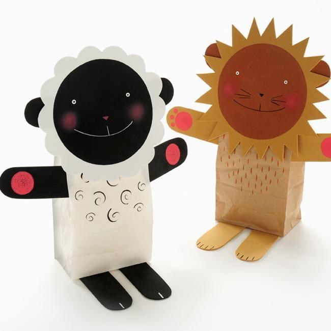 Lion and Lamb Stuffed Paper Bag Puppets kids project