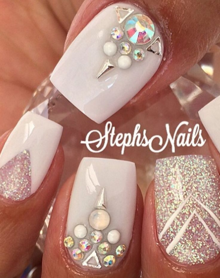 The 26 best Rhinestone nails images on Pinterest   Nail design, Nail ...