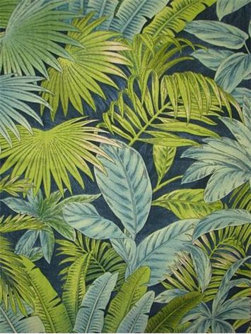 """Bahamian Breeze Peninsula.  Tommy Bahama Fabric - Island Memories Collection. 100% cotton canvas tropical print. Multi purpose home decorator fabric for drapery, upholstery, pillows, top of the bed or slipcovers. V 27"""" / H 27"""". Made in U.S.A. 54"""" wide."""