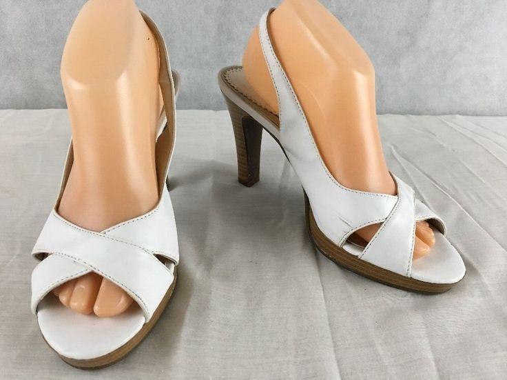 """Madeline Stuart Allie White Cross Strap Slingback Sandal 4"""" Heel Size 9M #madelinestuart #PumpsClassics"""